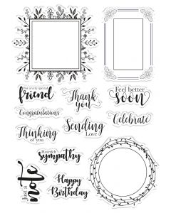 Crafter's Companion Clear Acrylic Stamps - Frame Sentiments
