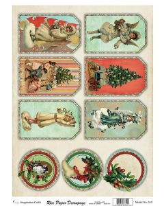 Imagination Crafts A4 Rice Papers - A4510 Vintage Christmas
