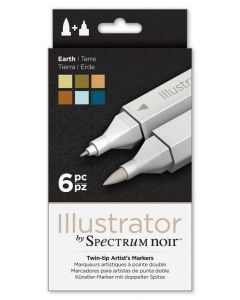 Illustrator by Spectrum Noir 6 Pen Set - Earth