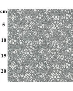 John Louden 100% Cotton Poplin Floral Designs - Silver