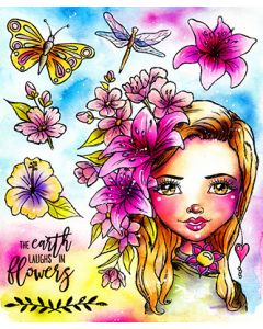 LDRS Flower Power - Art Journal Rubber Stamp