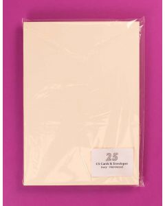 Craft UK C5 Ivory Linen Card and Envelopes - pack of 25
