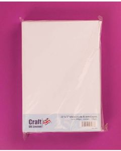 Craft UK 10 x 7 Card and Envelopes - pack of 25