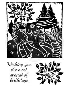 Woodware Clear Singles - Lino Cut - Hare in the Fields