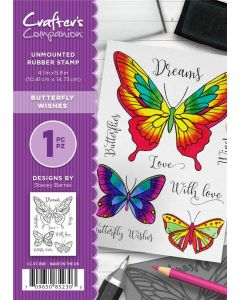 Crafter's Companion A6 Rubber Stamp - Butterfly Wishes