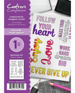 Crafter's Companion A6 Rubber Stamp - Follow Your Heart