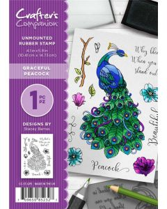 Crafter's Companion A6 Rubber Stamp - Graceful Peacock