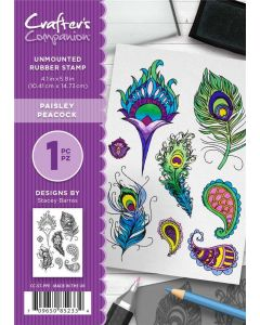 Crafter's Companion A6 Rubber Stamp - Paisley Peacock