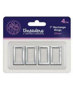 "Threaders 1"" Rectangle Rings - Silver (4PK)"