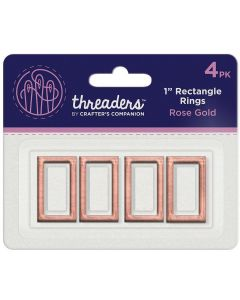 "Threaders 1"" Rectangle Rings - Rose Gold (4PK)"