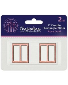 "Threaders 1"" Double Rectangle Slider - Rose Gold(2pk)"