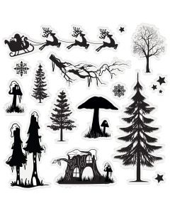 Sara Signature Enchanted Christmas Acrylic Stamp - Fantasy Forest