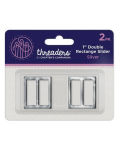 "Threaders 1"" Double Rectangle Slider - Silver (2pk)"