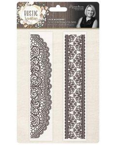 """Sara Signature Rustic Wedding 7""""x1.5"""" Embossing Folder (2PK) - Lace Borders"""