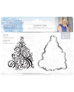 Sara Signature Winter Wonderland Stamp & Die - Elegant Tree