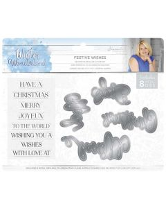 Sara Signature Winter Wonderland Stamp & Die - Festive Wishes