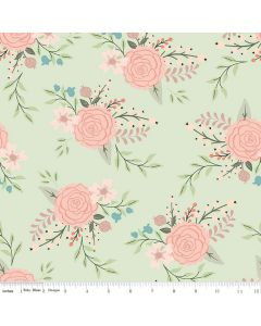 Riley Blake Bliss Fabric - Main Mint With Rose Gold Sparkle
