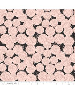 Riley Blake Bliss Fabric - Roses Black With Rose Gold Sparkle