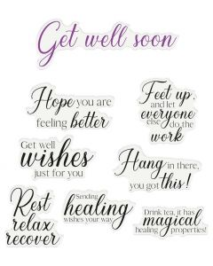 Crafter's Companion Sentiment and Verses Clear Stamps - Get Well Soon