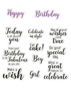 Crafter's Companion Sentiment and Verses Clear Stamps - Happy Birthday