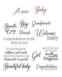 Crafter's Companion Sentiment and Verses Clear Stamps - New Baby