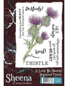 Sheena Douglass A Little Bit Sketchy A6 Rubber Stamp Set - Highland Thistle