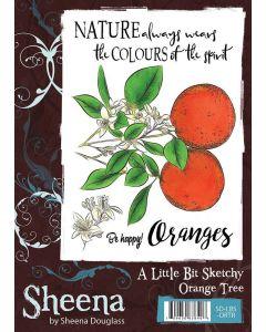 Sheena Douglass A Little Bit Sketchy A6 Rubber Stamp Set - Orange Tree