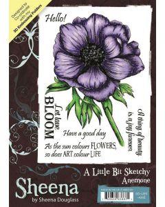 Sheena Douglass A Little Bit Sketchy A6 Rubber Stamp Set - Anemone
