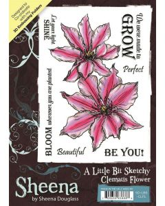 Sheena Douglass A Little Bit Sketchy A6 Stamp - Clematis Flower