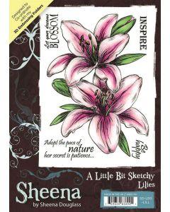 Sheena Douglass A Little Bit Sketchy A6 Rubber Stamp Set - Lilies