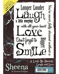 Sheena Douglass A Little Bit Sketchy A6 Rubber Stamp Set - Laugh and Love