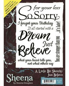 Sheena Douglass A Little Bit Sketchy A6 Rubber Stamp Set - Just Believe