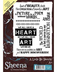 Sheena Douglass A Little Bit Sketchy A6 Rubber Stamp Set - Art
