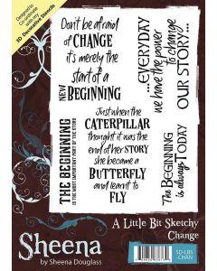 Sheena Douglass A Little Bit Sketchy A6 Rubber Stamp Set - Change