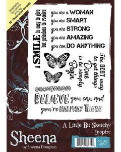 Sheena Douglass A Little Bit Sketchy A6 Rubber Stamp Set - Inspire