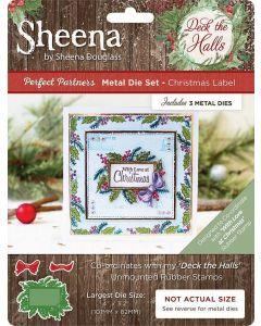 Sheena Douglass Perfect Partners Deck the Halls Metal Die - Christmas Label