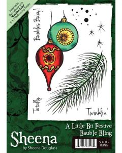 Sheena Douglass A6 Christmas Rubber Stamp - Bauble Bling
