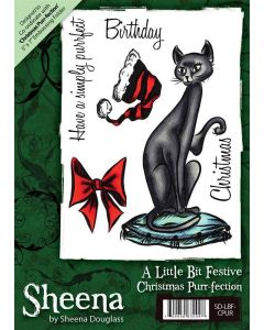 Sheena Douglass A6 Xmas Rubber Stamp - Christmas Purr-fection