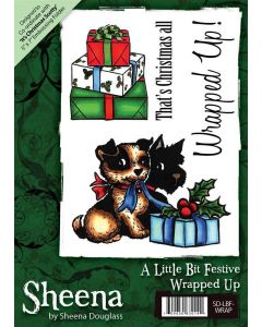 Sheena Douglass A6 Christmas Rubber Stamp - Wrapped Up
