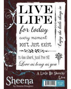 Sheena Douglass A Little Bit Sketchy A6 Rubber Stamp Set - Live