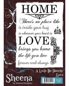 Sheena Douglass A Little Bit Sketchy A6 Rubber Stamp Set - Love