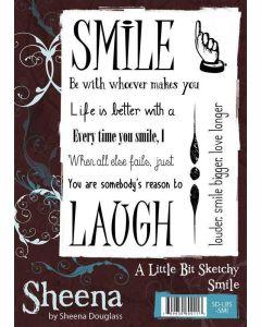 Sheena Douglass A Little Bit Sketchy A6 Rubber Stamp Set - Smile