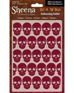 "Sheena Douglass Perfect Partners Day of the Dead 5""x7"" Embossing Folder - Skullduggery"