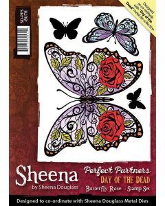 Sheena Douglass Perfect Partners Day of the Dead A6 Rubber Stamp Set - Butterfly Rose