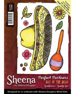 Sheena Douglass Perfect Partners Day of the Dead A6 Rubber Stamp Set - Sombrero