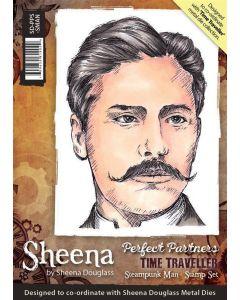 Sheena Douglass Perfect Partners Time Traveller A6 Rubber Stamp Set - Steampunk Man