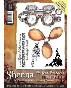 Sheena Douglass Perfect Partners Time Traveller A6 Rubber Stamp Set - Voyage of Discovery