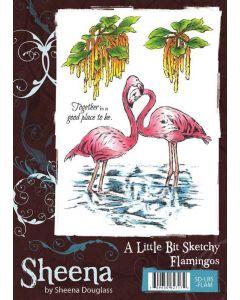 Sheena Douglass Sketchy A6 Rubber Stamp Set - Flamingos