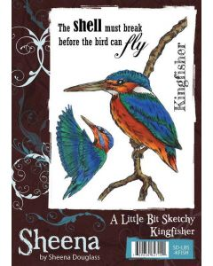 Sheena Douglass A Little Bit Sketchy A6 Rubber Stamp Set - Kingfisher