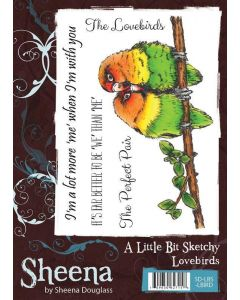 Sheena Douglass A Little Bit Sketchy A6 Rubber Stamp Set - Lovebirds